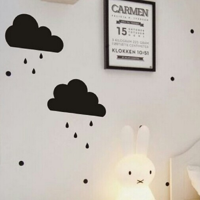 2 Styles Dark Cloud Raindrop Sticker Kids Bedroom Wall Decoration Festival Party Decor Photo Props Nodic Style Toys