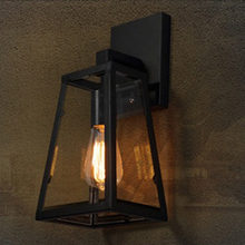 Купить с кэшбэком American nordic creative  industrial retro iron restaurant bar aisle outdoor porch lampara led pared loft E27 wall lamp sconce
