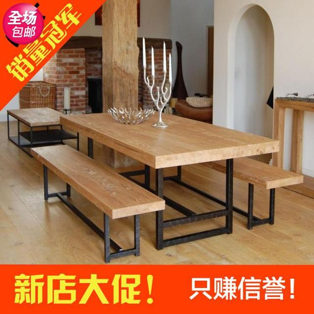 Wrought iron and wood furniture Unique Loft Vintage Pine Dining Table And Chairs Courtyard Simple Wooden Furniture Wrought Iron Wood Residential Furniture Dinette Aliexpresscom Loft Vintage Pine Dining Table And Chairs Courtyard Simple Wooden