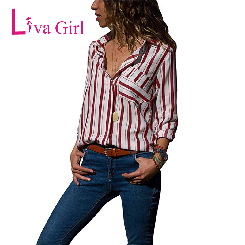 Casual Larga Blusas 2019 blue Moda Botón De red Tops Mujer A Calidad Plus Black Bolsillos Las Manga Camisas gray Mujeres Tamaño Xxl Alta Rayas 8S1t16f