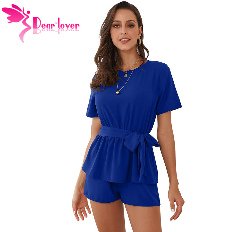 Dear Lover Casual Playsuit Summer Navy Half Sleeves Peplum Waist Romper Women   Jumpsuits   Boho Short Overalls Macacao C64383