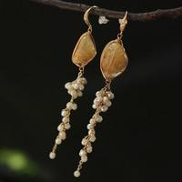 Manual original designer natural semi precious stones yellow earrings ears hanging crystal pearl tassel fashion