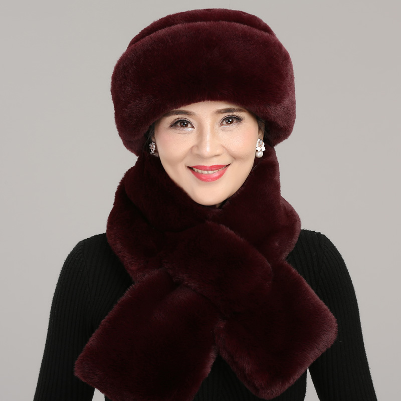 Middle-aged Mother Hat Autumn Winter Warm Thicken Outdoor Cap Elderly Grandmother's Caps Soft Fashion Pure Color Scarf H7149