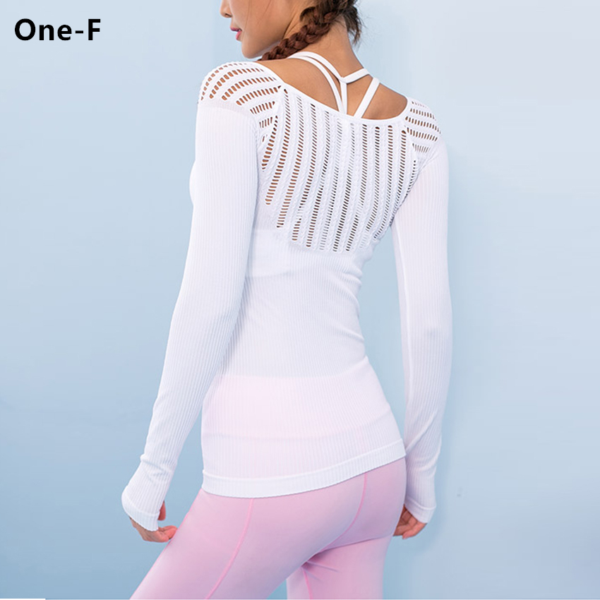 wanderer long sleeve yoga top for women sexy hollow out training top cutout workout gym clothes solid thumb hole yoga t shirts купить недорого в Москве