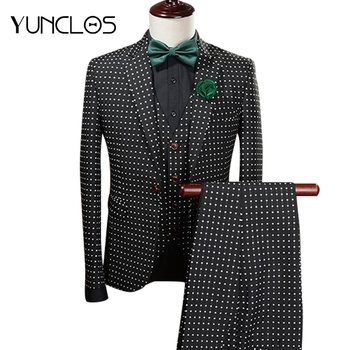 YUNCLOS Jacquard Polka Dot Men Suit 3 Pieces Tuxedo Grooms Wedding Suits For Men Vintage Wedding Party Dress polka dot overlay tea length vintage dress