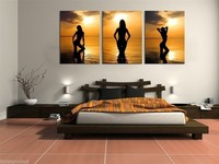 100% Hand Painted Modern Abstract Canvas Art Oil Painting Pictures on the Wall 3 Panel Sunset Beach Sexy Nude Girl 16*24 inch