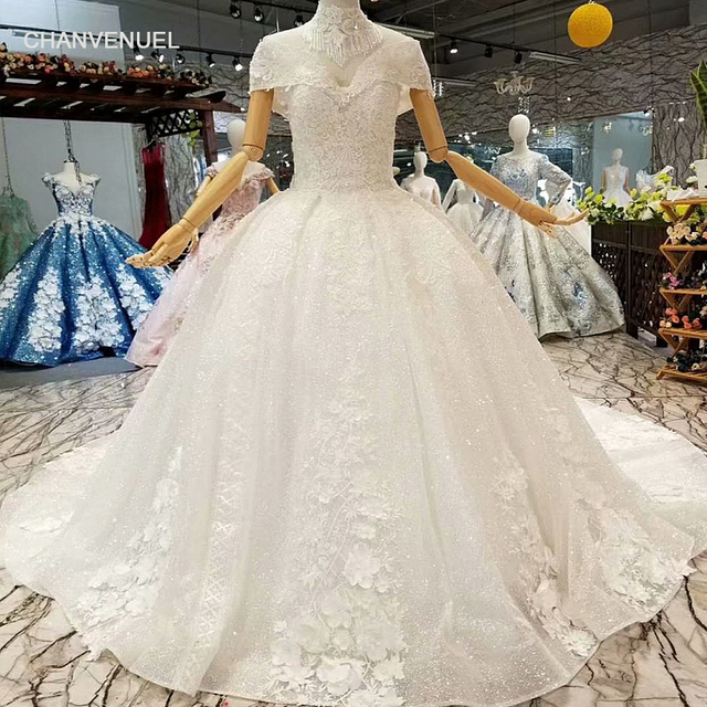 Ls324740 Simple Wedding Dress 2018 With High Necklace Off The Shoulder V Neck Flowers