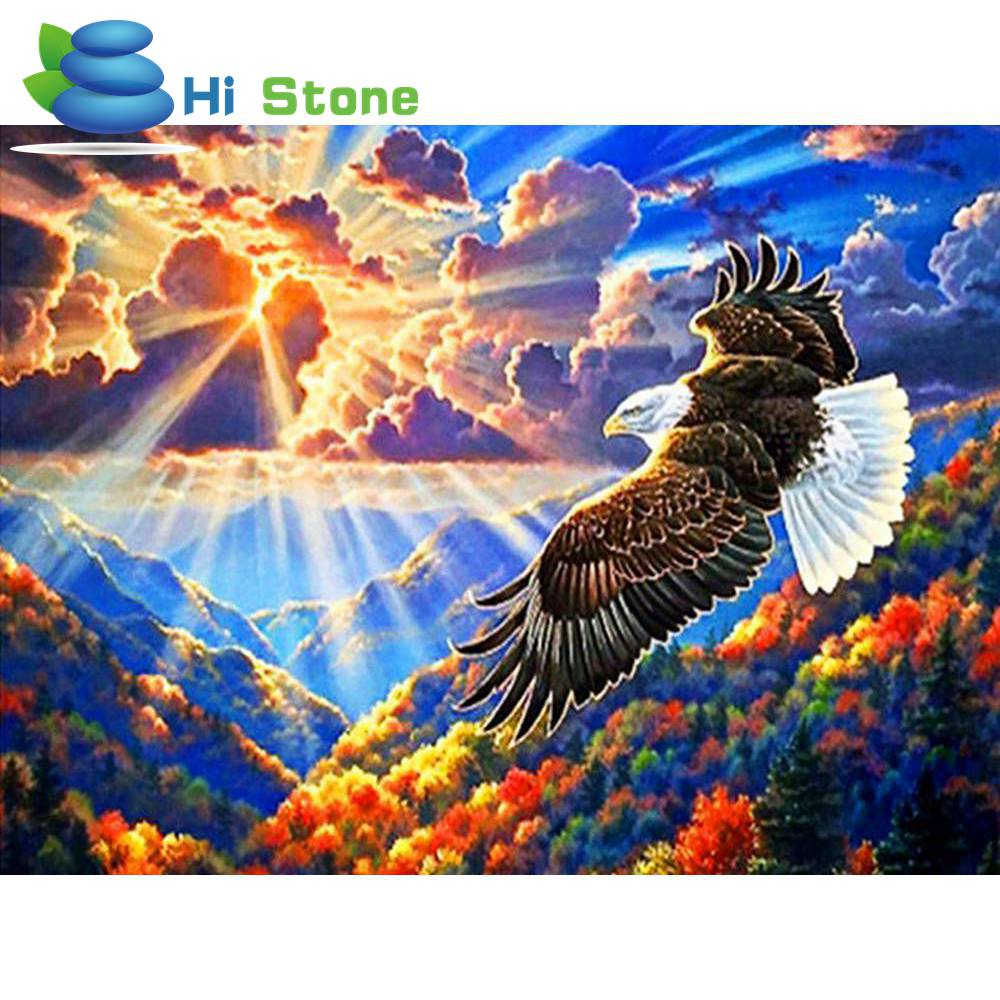 New 3D DIY Diamond Painting Bird 5D Diamond Embroidery Cross Stitch Needlework Forest Eagle Fly Bird Animal Home Decorative