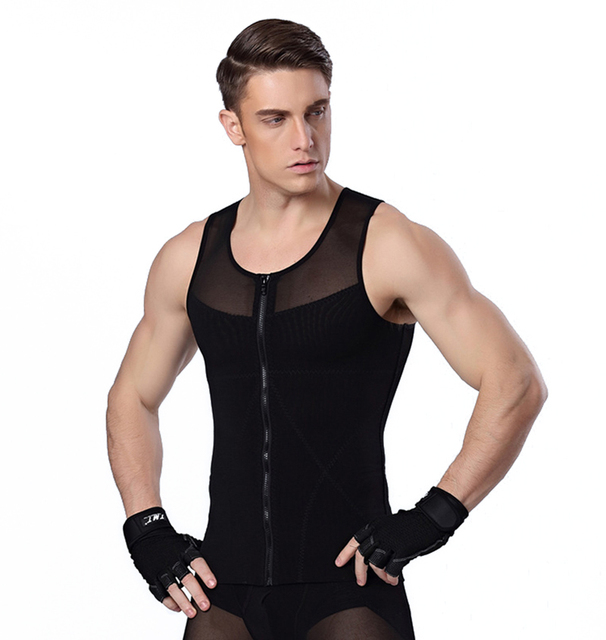 6a2979008b Men Chest Shaper Bodybuilding Slimming Belly Abdomen Tummy Fat Burn Posture  Corrector Compression Shirt Tank Top Corset For Male