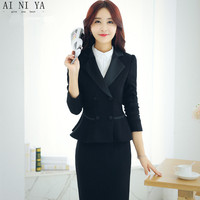 Fashion Women Skirt Suits Two Piece Formal Business Work Skirt Suits Female Office Uniform Slim Ladies Double Breasted Jacket