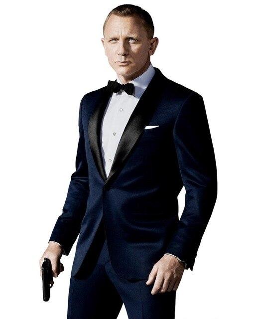 High Quality Custom Made James Bond Suit Dark Blue Tuxedo Jacket Pants Tie Worn Wedding