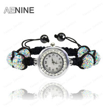 AENINE Trendy Watch Jewelry 10mm AB Clay Disco Ball Crystal Beads Bracelets Watch Bangles Jewelry For Women Mix Colors SHBR11