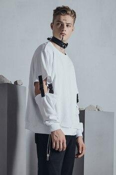 M-XL!! Original fashion men's autumn  2018   European and American dark sleeves hollowed-out jacket hoodie