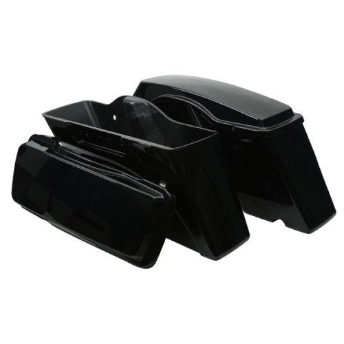 Left Right Vivid Black ABS Hard Saddle Bags Harley Touring - Мотоцикл аксессуарлары мен бөлшектер - фото 5