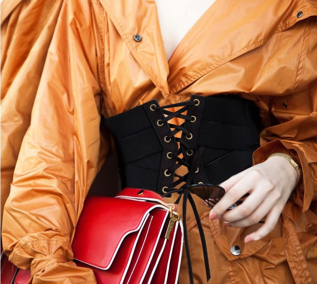 73db8c4599 1 x Wide Elastic Waist Belt. Material PU leather ... Sexy Women Corset Belt  PU Leather cummerbunds Zipper Bandage HOT Elastic Cincher Wide Waistband ...