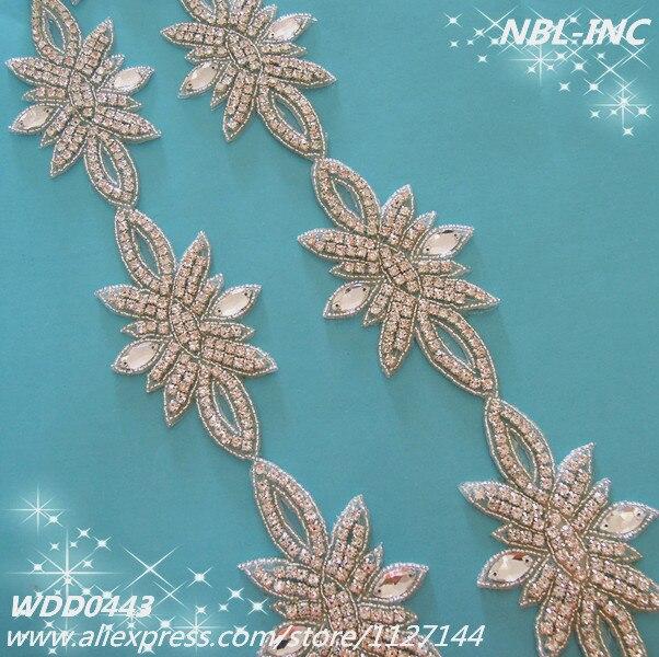 (10 YARDS )Wholesale beaded bridal crystal glass silver rhinestone applique trim iron on for wedding dress sash IRON ON WDD0443