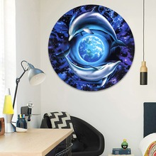 Modern Home Decor Wall 1 Piece Starry Sky Dolphins Circle the Earth Abstract Painting Canvas Print Circular Style Picture