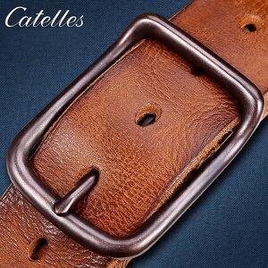 Image 5 - Catelles Männlich gürtel Cow strap männlichen Echtem Leder vintage männer gürtel Pin Schnalle Designer Gürtel Für Männer leder gürtel männer 6010