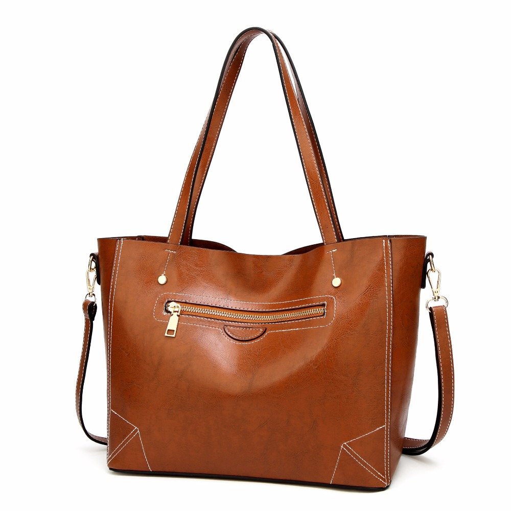 Bag For Women Big Handbags Oil Wax Leather Retro Tote Bags Shoulder Bags Crossbody Bag Famous Brand High Capacity Simple Casual alieme vintage big shell bag shoulder bag high quality oil wax leather red black brown ladies bags handbags women famous brands