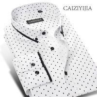 Caiziyijia gorąca sprzedaż przycisk w dół koszula mężczyzna z długim rękawem wysokiej jakości dot wydrukowano camisa masculina casual clothing marki slim fit