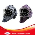 water transter printing decal carbon ice hockey goalie helmet with stainless steel cage 304 abs foam free shipping