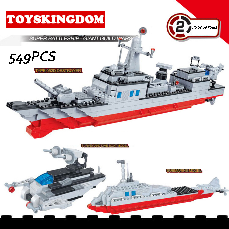 Modern Military world war giant battleship Type 052D destroyer 2in1 building block plastic submarine model bricks toys for boys civil war battleship the monitor level 4