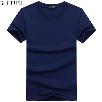 Summer New Fashion Men's Cotton Casual Short-sleeved Men's T-shirt Youth Large Size S-5XL Round Neck Solid Color Men's T-shirt image