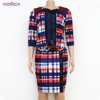 L 4XL 2 Pieces Set dress Africa Clothing 2019 African Plaid Design Midi Dress For Party Lady Dashiki Dress For Women