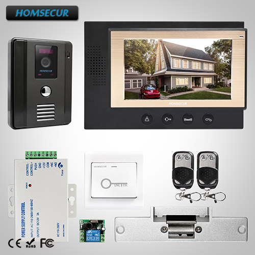 HOMSECUR 7 Video Door Phone Intercom System+Dual-way Intercom for Home Security (TC011-B+TM701-B)