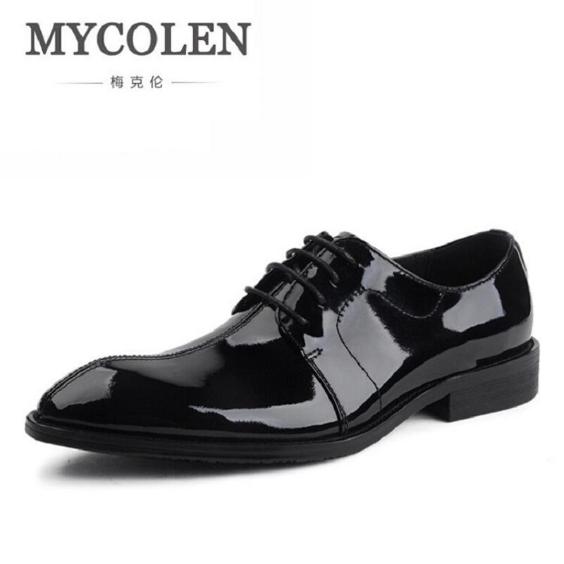 MYCOLEN Top Quality Men Oxfords Dress Shoes Lace-Up Black Cowhide Leather Shoes Mens Pointed Toe Formal Office Shoes sapato недорого