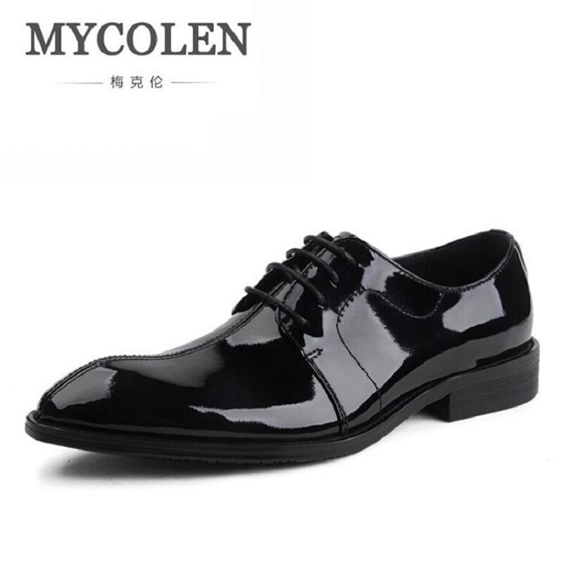 Mycolen Одежда высшего качества мужские оксфорды Туфли под платье Кружево up черный Обувь из воловьей кожи Для мужчин S острый носок вечерние оф