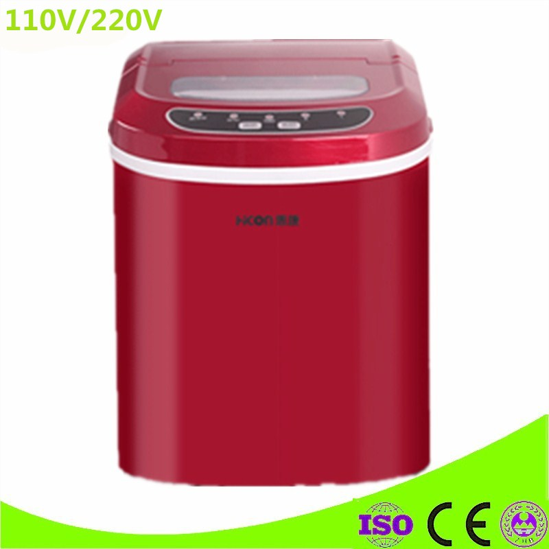 Portable 95W Commercial 220V 15 kg/24H Large Capacity Stainless Steel Ice Maker Machine Restaurant Hotel Party Use
