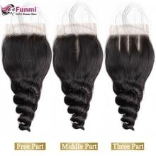 Funmi волосы 4*4 Кружева Закрытие индийские девственные волосы 130% плотность Свободные волны средняя часть кружева Закрытие человеческие волосы переплетения пучки