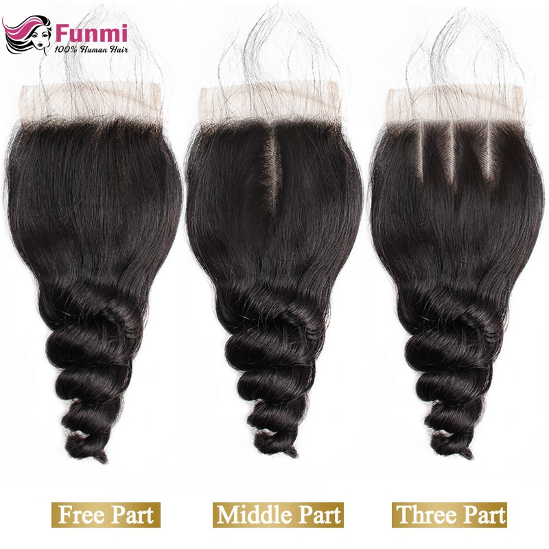 Funmi Hair 4*4 Lace Closure Indian Virgin Hair 130% Density Loose Wave Middle Part Lace Closure 100% Human Hair Weave Bundles