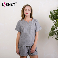LIENZY Summer Women Office Suit Basic T Shirt Short Sleeve Wide Leg Short Pant Blue Grey