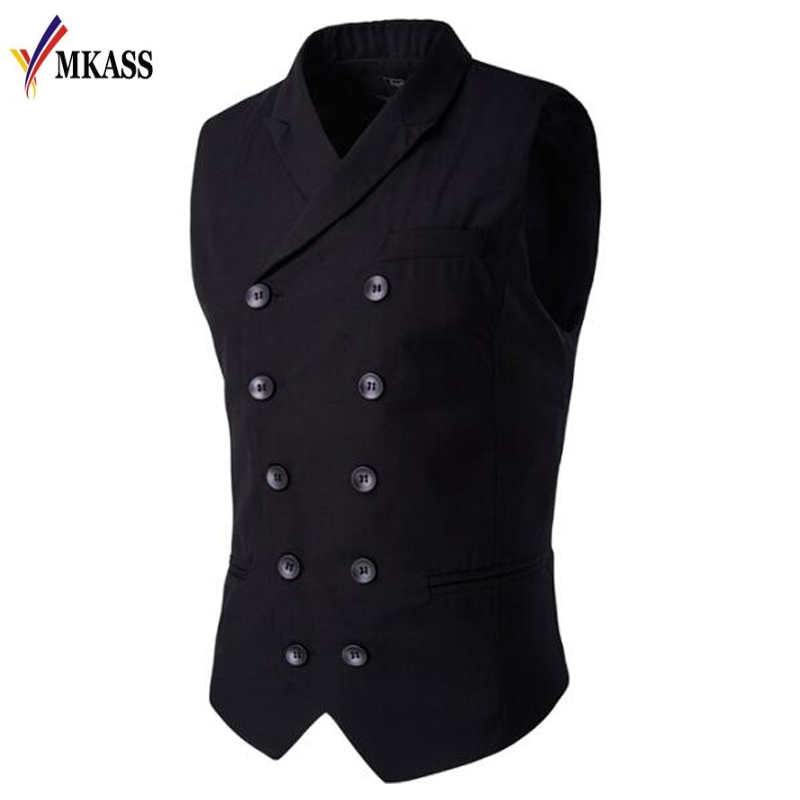 Hot Sale Mens vests And waistcoats Slim Masculino Cotton Double Breasted Sleeveless Jacket Waistcoat Suit Collar