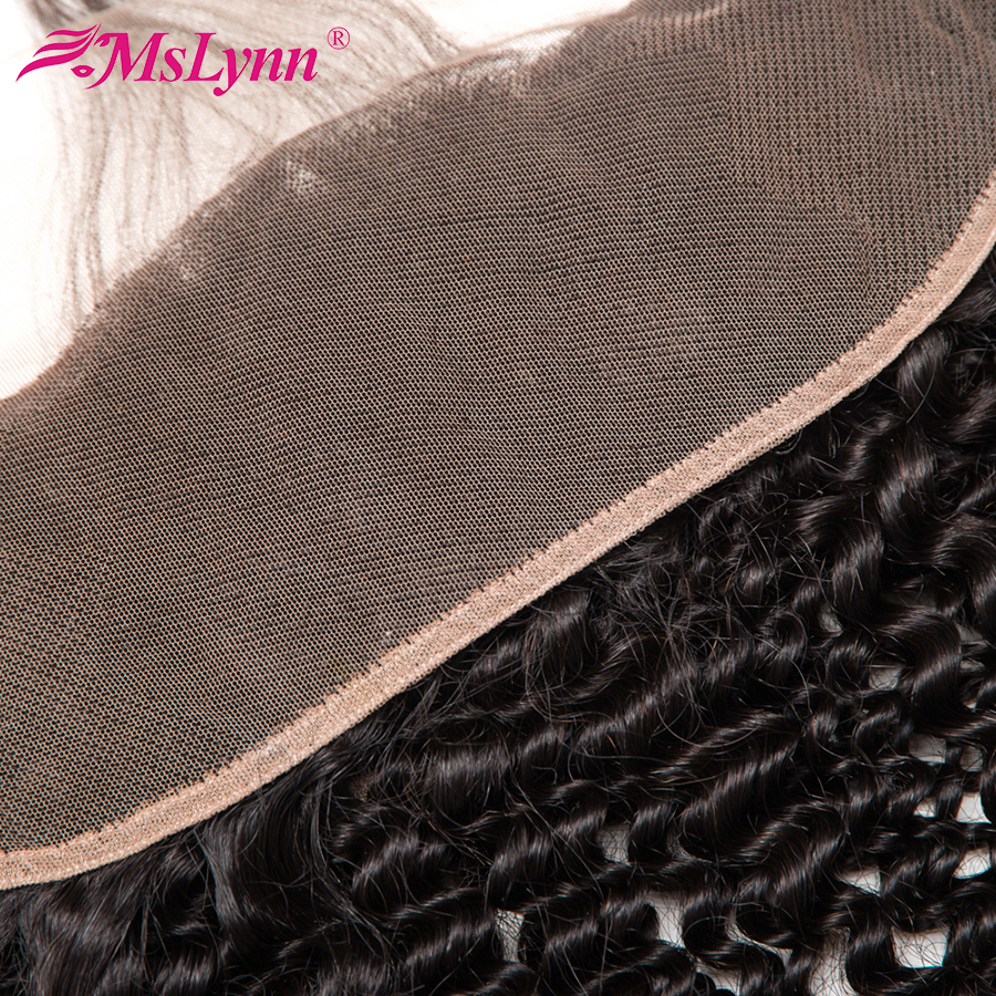 Mslynn Hair Brazilian Kinky Curly Hair 13x4 Ear To Ear Lace Frontal Closure Pre Plucked Non Remy Human Hair Closure Can Be Dyed
