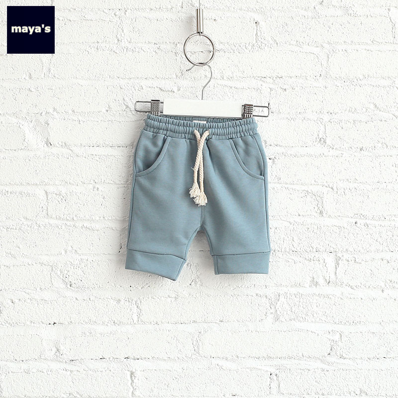 Mayas Summer Cotton Soft Knee Length Kids Pants Children Spring Basic Style Causal Pants Toddler New Solid Color Homewear 71030