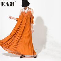 EAM S 2018 New Spring Summer Solid Color Strapless Large Size Solid Color Pleated Dress