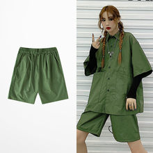 New Fashion Summer Loose Cargo Shorts For Men And Women Skateboard Retro Punk Shorts Men Streetwear Black Green Color Men Short(China)