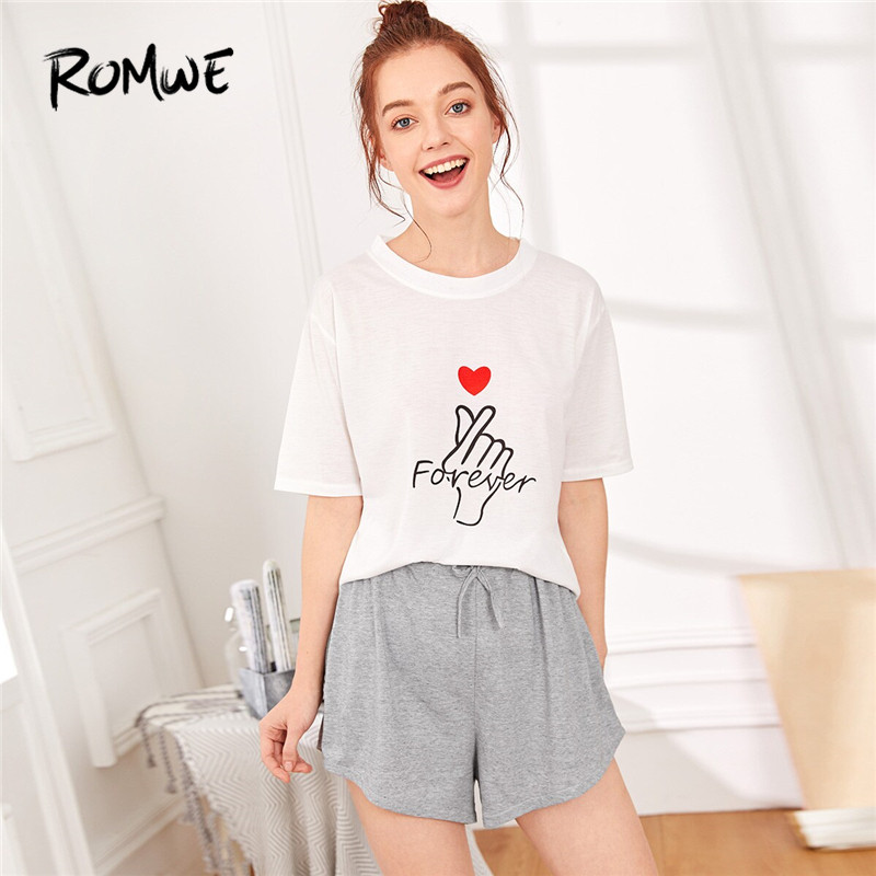ROMWE Heart and Letter Print   Pajama     Set   2019 Women Summer Short Sleeve Tops With Drawstring Shorts PJ   Set   Nightwear Suits