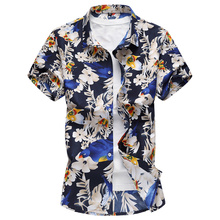 купить Men Floral Cotton Shirt Hawaii Style 2018 New Summer Short Sleeve Slim Fit Big Size Flower Print Male Plus Size 6XL 7XL Shirts онлайн