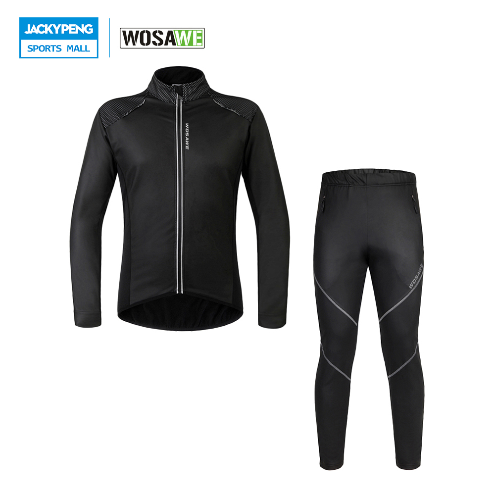 WOSAWE Men Windproof Long Sleeve Cycling Suit Bicycle Jacket + Pants Winter Fleece Thermal MTB Road Bike Wind Coat Clothing Sets arsuxeo outdoor sports cycling jerseys mtb bike bicycle running jacket men waterproof windproof long sleeve wind coat clothing