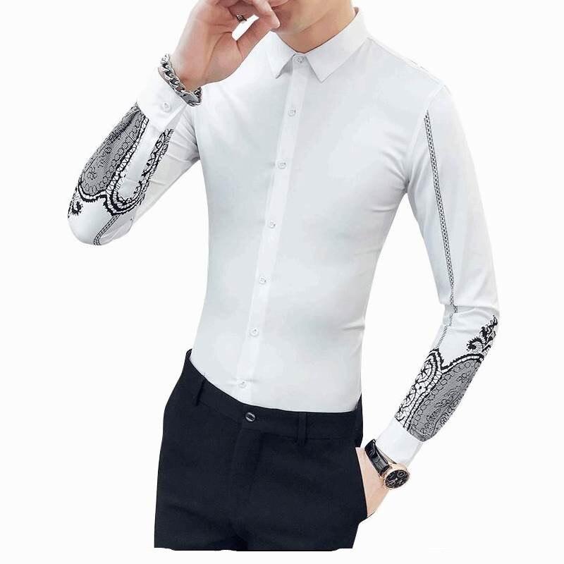 2018 Neue Gedruckt Shirt Männliche Koreanische Dünne Plus Samt Mit Langen ärmeln Shirt Haar Stylist Persönlichkeit Hemd Flut Diversifiziert In Der Verpackung