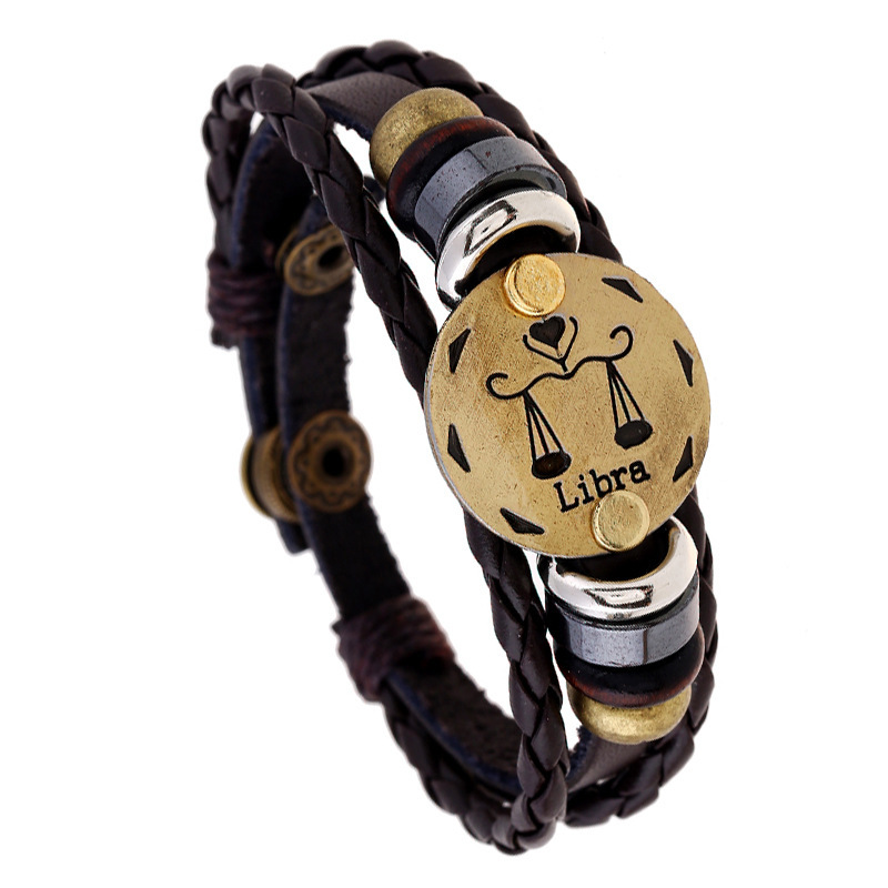 H:HYDE Bronze Buckles 12 Zodiac Signs Bracelet Punk Leather Bracelet Wooden Bead + Black ...