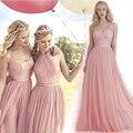2016 новый дешевый формальные 3 стилей длинными обнаженная розовый румянец платья для подружек невесты свадьба ну вечеринку платье фрейлины платье