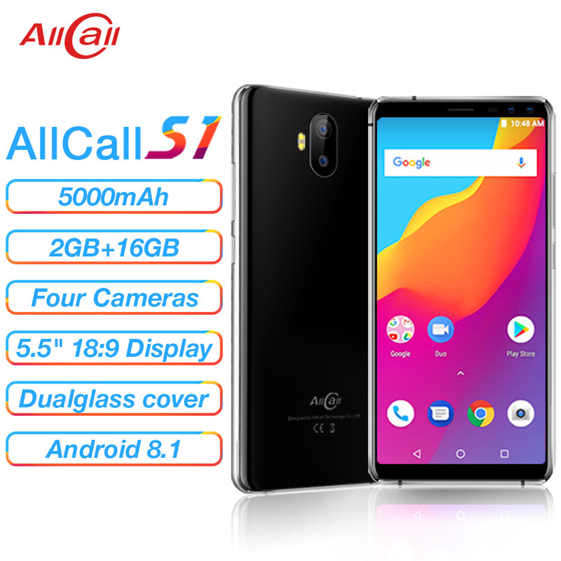 100% Original AllCall S1 Smartphone Android 8.1 5.5'' Quad Core 2GB RAM 16GB ROM 8MP 5000mAh 2 SIM GSM WCDMA Mobile Cell Phones