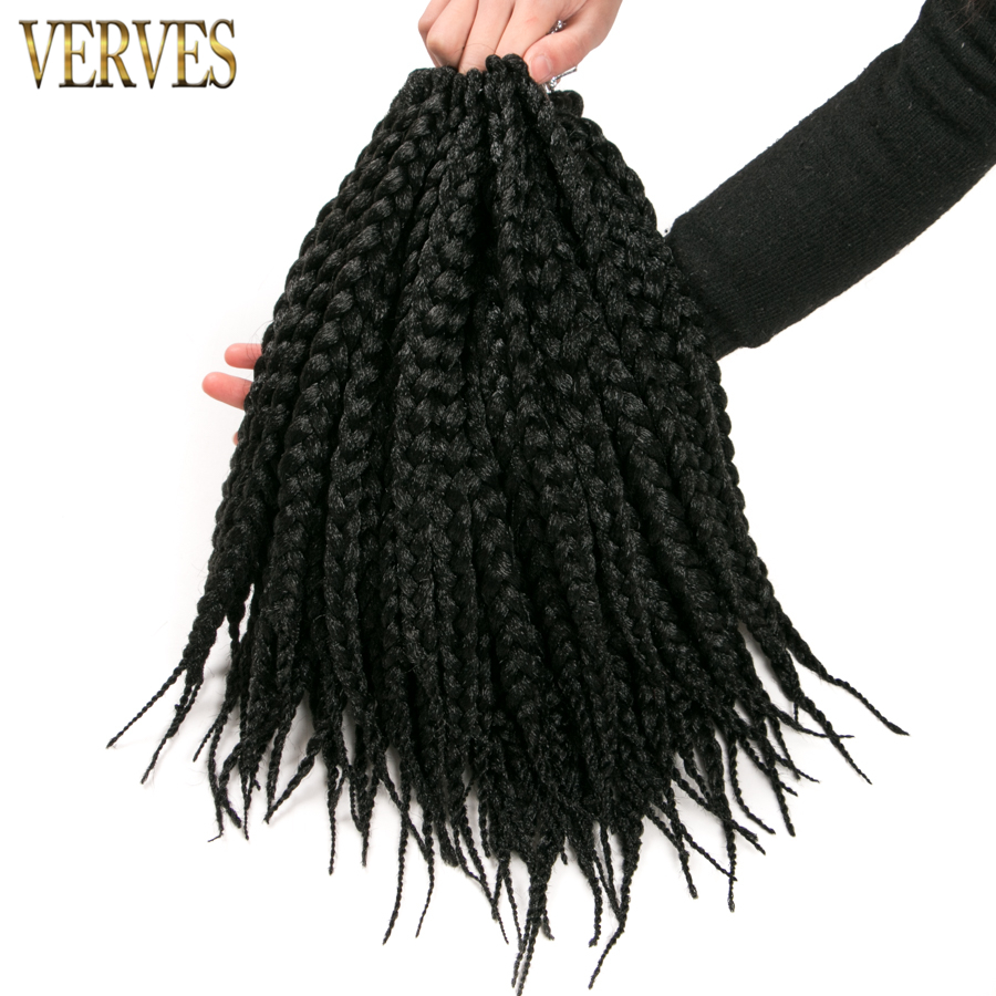 Box Braids Hair 14 inch 6 pack Crochet Hair Extensions 12 roots/pack VERVES burgundy,brown blond,black color