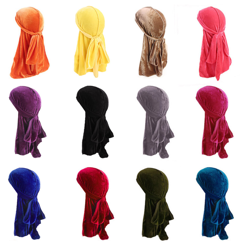 Velvet Durag Men's Turban Cap Women Headwear Breathable Hip Hop Accessories Wholesale(China)