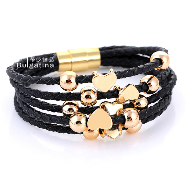 Alibaba express Hot Sell Leather Wrap 18k Rose Gold Plated Bracelet
